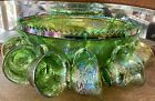 VINTAGE GLASS PUNCH BOWL SET IRIDESCENT LIME GREEN CARNIVAL HARVEST GRAPE 12CUPS