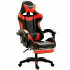 Leather Ergonomic Gaming Chair Wfootrest Sit Racing Computer Office Desk Swivel