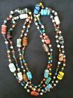 Old Vintage Art Deco Venetian Glass Bead Necklace 51 long