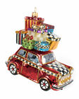 MacKenzie Childs Glass Ornament Home for the Holidays Red