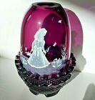 Fenton Fairy Lamp PurpleH P Signed S Waters Girl With Butterflies Exc Vintage