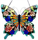24 x 23 Tiffany Style Butterfly Beauty Stained Glass Window Panel