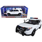 2015 Ford Police Interceptor Utility White with Flashing Light Bar and Front