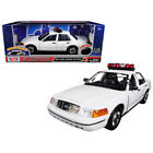 2001 Ford Crown Victoria Police Car Plain White with Flashing Light Bar Fron