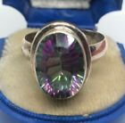 Vintage Sterling Silver Ring 925 Size 9 Glass Mystic Topaz Green Purple
