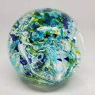 Jeff Price 2010 Art Glass Paperweight Ball Marble Blue Green Controlled Bubble