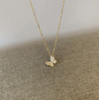 14K gold Vermeil on 925 Sterling Silver Crystal Butterfly Necklace Women gift