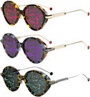Dior Umbrage Womens Vintage Style Round Sunglasses w Leaf Pattern Lens Italy