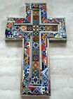Mexican Art Talavera Tile and Mirror Glass Religious Wall Cross X Large 18