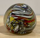 Murano Italy Italian Hand Blown Glass Multi Color Paperweight Approx 25 x 25