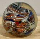 Murano Italy Italian Hand Blown Glass Orange White Blue Paperweight 25 x 25