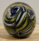 Murano Italy Hand Blown Glass Multi Color Blue White Dunes Paperweight 25 x 25