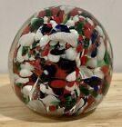 Murano Italy Hand Blown Glass Multi Color Red White Green Paperweight 25 x 25