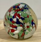 Murano Italy Hand Blown Glass Multi Color Pastel Green Paperweight 25 x 25