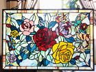 27 x 27 Victorian Rose Garden Tiffany Style Stained Glass Window Panel w Chain