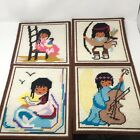4 Plastic Canvas Needlework Ted Degrazi Native American Scenes Finished Complete