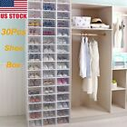 30pcs Foldable Shoe Box Clear Storage Case Stackable Sneaker Container Organizer