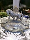 ANTIQUE ART NOUVEAU SILVER PLATED INKWELL STAND WITH HORSE FIGURE CUT GLASS CUPS