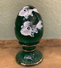 Fenton Art Glass Hand Painted Egg School Of Fish Signed Retired