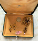 Rare Victorian Pin Pendant  Earrings Set 14k with Glass Doublets Original box