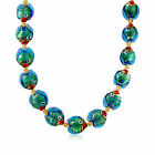 Italian Multicolored Murano Glass Fish Necklace with 18kt Gold Over Sterling
