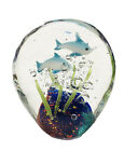 Studio Art Glass Dolphins Underwater Ocean Fish Paperweight 3 1 2 Tall Nautical
