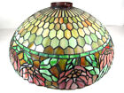 Beautiful Antique Tiffany Style Leaded Stained Glass Hanging Lamp w Large Shade