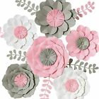3D Paper Flower Decorations Giant Flowers Large Handcrafted  Pink White Set