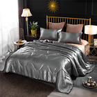 NTBED Silky Satin Comforter Sets Queen Gray Luxury Soft Microfiber Bedding Sexy