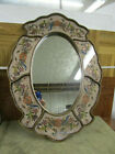 Oval Wall Mirror Decorative Handpainted Glass Wood Frame Floral Design