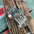 SUNSHINE REEVES NATIVE NAVAJO STERLING NATURAL PILOT MOUNTAIN TURQUOISE CUFF 7