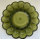 Vintage Indiana Glass Green Deviled Egg Plate Tray Beaded Hobnail Pattern