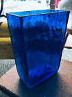 BLENKO GLASS 3732 pre Designer TEAL AZURE BLUE RECTANGULAR SQUARE PILLOW VASE