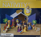 Costco Nativity Wood Set Colorful 16 Pieces with Barn Creche 2011