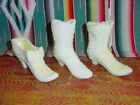 THREE FENTON GLASS SHOE S RARE YELLOW COLOR OPALESENT