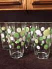 4 vintage Libbey drinking glasses lime green celery white polka dots