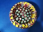DEACONS Glass John Deacons Paperweight HalfCrown around bed of clichy roses