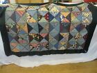 Vintage Antique Textile Quilt Silk Rayon Embroidery Throw Triangle Blocks