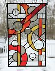 12x20 Leaded Stained Glass panel Abstract linear and circular Warm colors