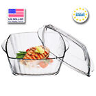 Glass Fluted Casserole Dish with Lid Large Ovenware Cookware 88oz
