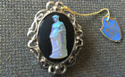Vintage Large Whiting and Davis Saphiret Glass Cameo Brooch W Tag