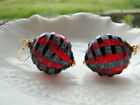 Red Murano Blown Sculpted Glass Earrings