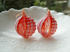 Orangey Red Murano Blown Sculpted Glass Earrings