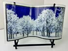 Peggy Karr Snowy Winter Trees Wave Fused Art Glass