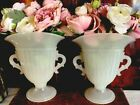 Pair Old White Opaline Clambroth Glass Vase