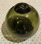 Antique Large Heavy Green Glass Fishing Float Buoy British Made