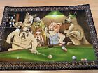 Vintage Cotton Tapestry Wall Hanging DTC Dogs Playing Pool Billards 55X 38 1 2