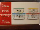 New 8 pc MICKEY MOUSE Pyrex Set Decorated Glass Food Storage Disney Christmas