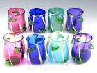 2002 Barrie Bredemeier Studio Art Glass MULTI COLOR TAMBLERS WITH LEAVES Set 8