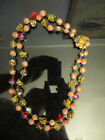 Vintage Estate Venetian Murano End of Day Glass Bead Crystal 2 Strand Necklace